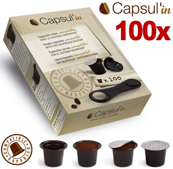 100x Empty Capsul'in Nespresso Compatible Capsule Pods Coffee Machine Pixie New Enlarged Preview
